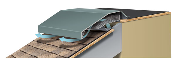 Hi-Perf Ridge Vent, Sloped Roof Meets Flat Roofed