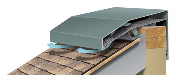 Hi-Perf Ridge Vent Sloped Roof Meets Vertical Wall