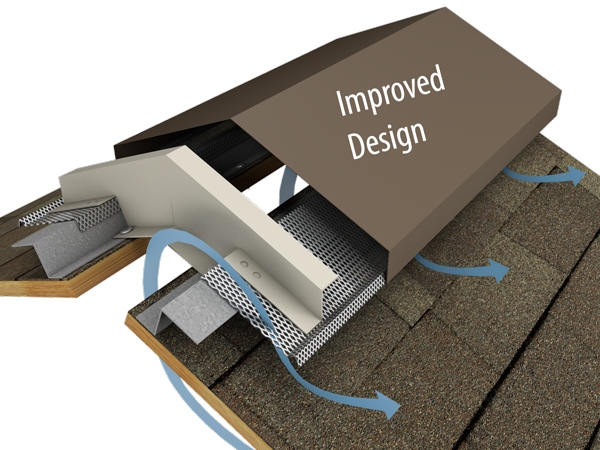 Hi-Perf Ridge Vent, Slope to Slope Shingled